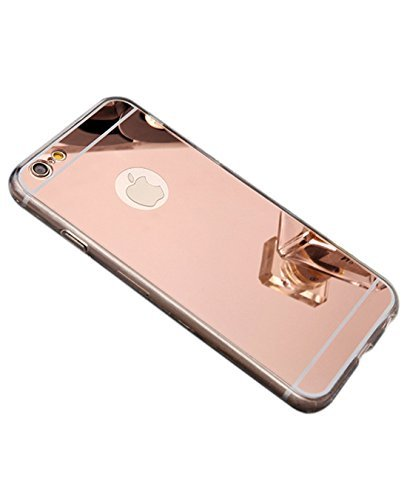 iPhone 7 case, Luxury Back Mirror Clear Slim TPU Bumper Shock-Absorption Anti-Scratch Protective Case Cover Bright Reflection Cute and Elegant for Apple iPhone 7 (2016)- Rose Gold