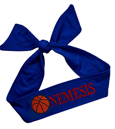 (Basketball Tie Back Moisture Wicking Headband Personalized with the Embroidered Name of Your Choice (ROYAL BLUE HEADBAND))