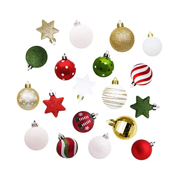 Sunshine smile Decorazioni Albero di Natale,Palle di Natale in plastica,Palline di Natale,Palline di Natale,Palline di Natale Decorazioni,Plastic Palline (Rosso Bianco Verde) 7 spesavip