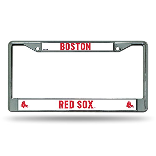 Boston Red Sox MLB Chrome Metal License Plate (Boston Red Sox License Plate Frame)