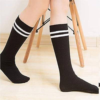 Bangxiu Calcetines de algodón a Rayas de algodón cálido y Respirable Calcetines de niño de niñas Vestidos de Tubo de Raya sobre la Rodilla Muslo Calcetines Altos de Medias (Color : Negro):