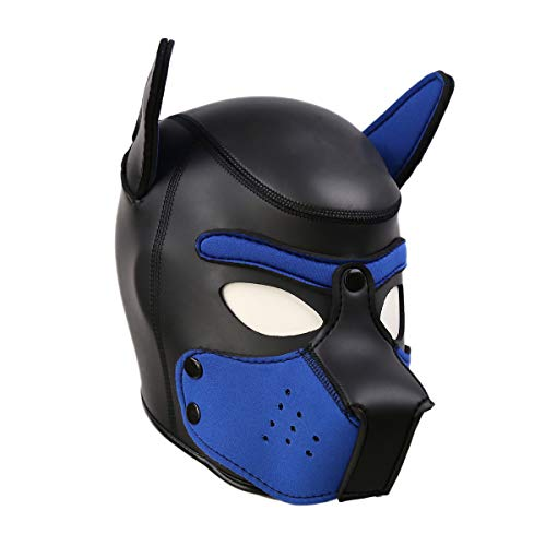 (HOT TIME Neoprene Puppy Hood Custom Animal Head Mask Novelty Costume Dog Head Masks (Small,)