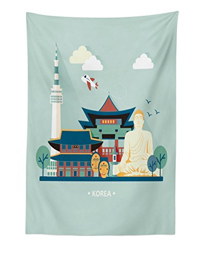 Lunarable Korea Tapestry, South Korean Traditional Tourist Attractions Archaic Statues Classic Architecture, Fabric Wall Hanging Decor for Bedroom Living Room Dorm, 30 W X 45 L Inches, Multicolor ()