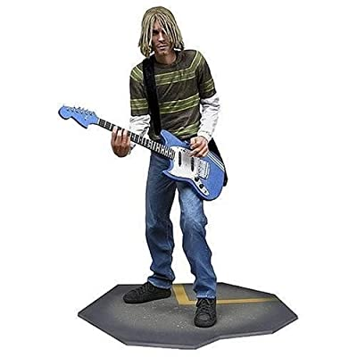Kurt Cobain 7 inch Action Figure with Skyblue Guitar by NECA: Toys & Games