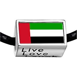 Chicforest Silver Plated United Arab Emirates flag Photo Live Love Laugh Charm Beads Fits Pandora Bracelet