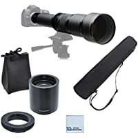 Elite Series 650-1300MM F/8-F/16 Super TelePhoto Zoom Lens with Manual Focus + T-Mount Adapter + 2.0 Teleconverter for Digital SLR for Canon 1D, 5D. 5D MARK II, 5D MARK III, 6D, 7D, 10D, 20D, 30D, 40D, 50D, 60D, 70D DSLR Cameras & Much More