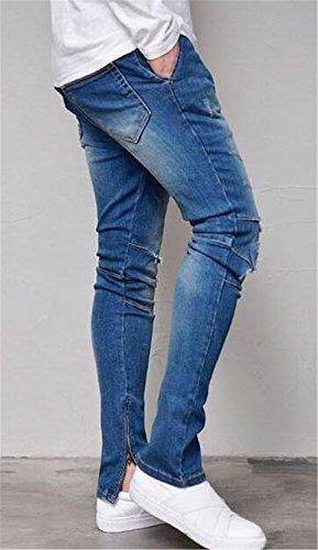 Men's Skinny Destroyed Ripped Jeans Fashion Elastic-Waist Denim Pants Blue 32