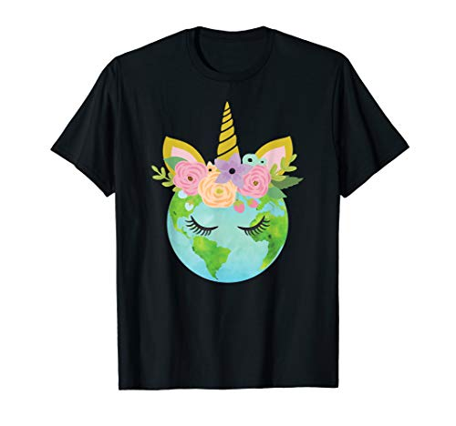 Earth T-shirts Day - Floral Unicorn Earth - Earth Day T Shirt