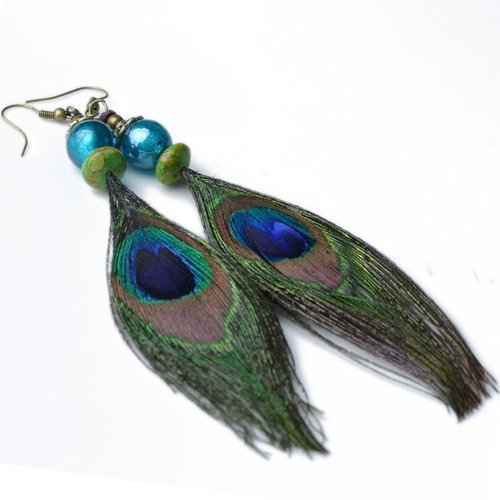 (Cyqun(TM) Vintage Peacock Feather Earrings For Girls,For Women)