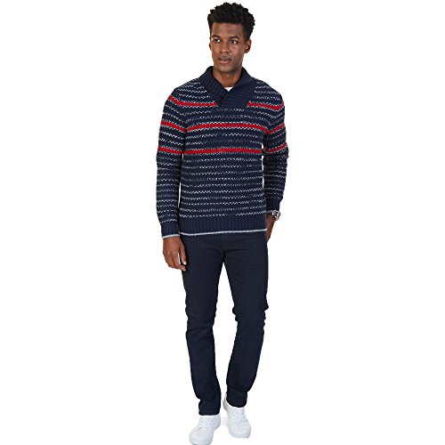 Nautica Striped Sweater - Nautica Men's Shawl Collar Striped Textured Knit Pullover Sweater (True Navy, Medium)