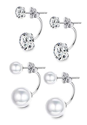 Sllaiss 2 Pairs Double Ball Freshwater Pearl Earrings Cubic Zirconia Jacket Earrings 925 Sterling Silver Earrings Sets Women Girls Special Jewelry -