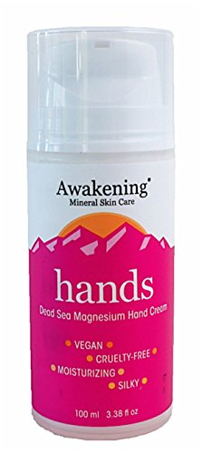 Awakening HANDS Magnesium-Rich Hydrating Hand Therapy Cream for Dry, Cracked Skin, 3.38oz 100ml