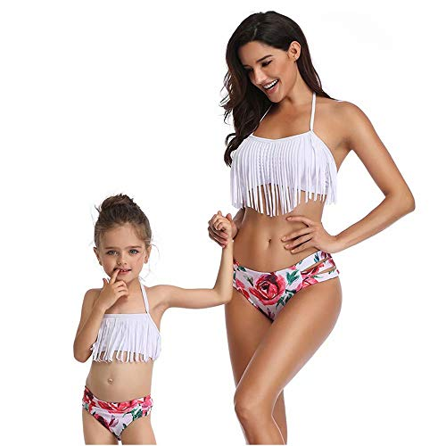 CoolYou Mother and Daughter Matching Family Swimsuits Two Piece Mommy and Me Bikini Sets Floral Print Bathing Suit Halter Neck Off Shoulder Flowing Tassels Top + High Waisted Bottom Beachwear, White