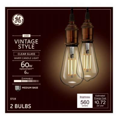 GE Lighting 36566 Clear Finish Light Bulb Dimmable LED Vinta