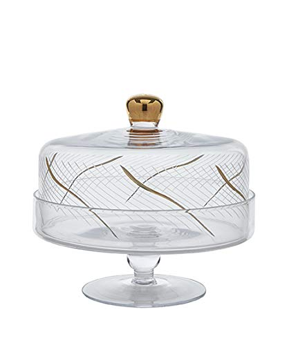 Glazze Crystal RMC-458-GL 24K Gold Detailing Cake Stand with Dome, 9