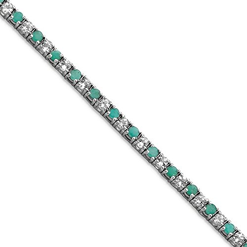 ICE CARATS 925 Sterling Silver Green Emerald White Topaz Tennis Bracelet 7.50 Inch Gemstone Add-a- by ICE CARATS