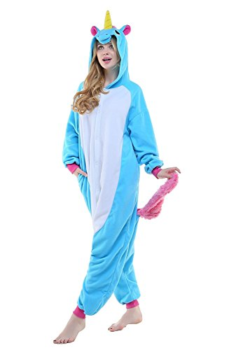 [Animal Adult Unisex Sky Blue Unicorn Onesies Kigurumi Pajamas Cosplay Pyjama] (Monster Hunter Cosplay Costume)