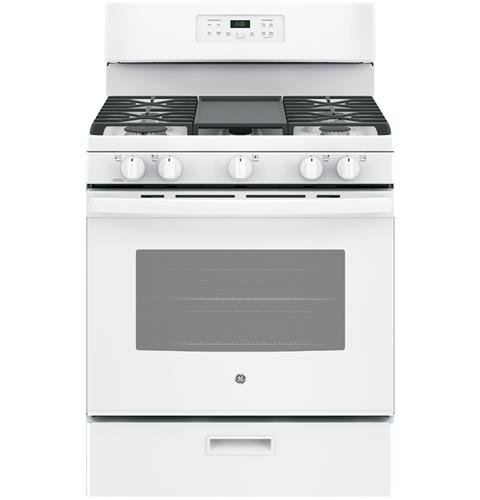 GE JGBS66DEKWW 30″ Gas Freestanding Range with 5 Burners, Sealed Burner, 5.0 Cu. Ft. Primary Oven Capacity, Griddle, Self-Cleaning Mode, in White