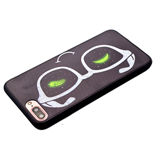 Funda para iPhone 7 plus, Ukayfe Suave Carcasa Caso Parachoques Diseño pintado Patrón para iPhone 7 plus,Funda Case Lujo Premium Bling Caja PC Dura Ultra Fina Cubierta Matt Glitter Protectora Caja Shi lunettes
