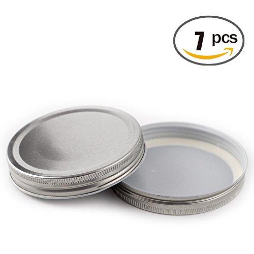 LKXC Silver Wide Mouth Mason Jar Lids ,Storage Solid Caps 7 Pack - Solid Wide Mouth Mason Jar Lids