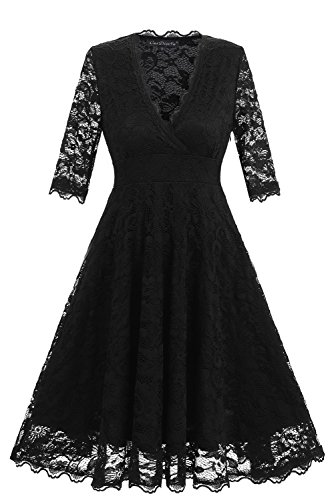 Avril Dress Women's 1950s Retro Style Full Lace Bridesmaid Dress Cocktail Party Swing A-Line Dress-XL-Black 50s Nylon Lace