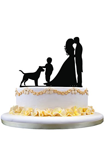 Wedding Cake Topper - Groom and Bride with a cute Boy and Dog pet acrylic topper by zhongfei