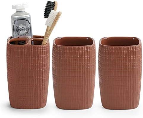 FXin バスルームアクセサリー、家庭用バスルームアクセサリーセラミック素材創造的な歯ブラシカップ歯ブラシホルダーのカップルのセット個人衛生トイレタリー、9色の組み合わせ シャワー室 (Color : F)