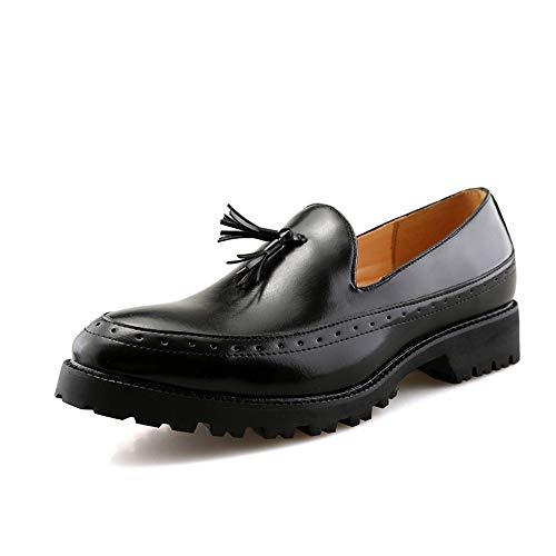 Noir 41 EU CHENDX Chaussures, Décontracté Hommes Britanniques de Style Britannique d'affaires Oxford Bas épais Semelle Confortable et Perky Chaussures Formelles à Franges (Couleur   Noir, Taille   41 EU)