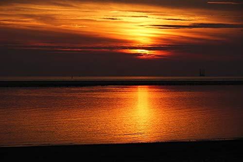 (Photography Poster - Sunset Borkum, Dusk, Sandbar, Sun, Gloss Finish)