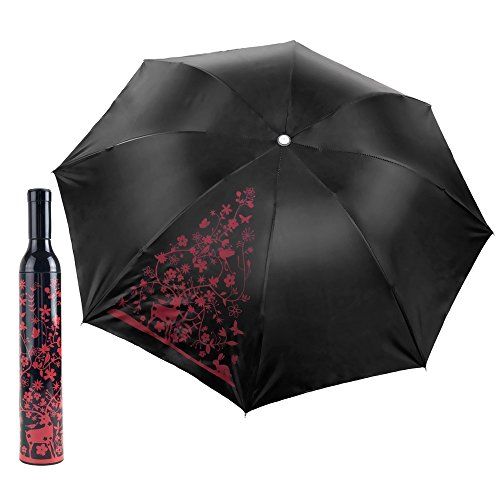 [Wine Bottle Umbrella Decorative Floral Red and Black for Sun or Rain] (Hand Jive Costumes)