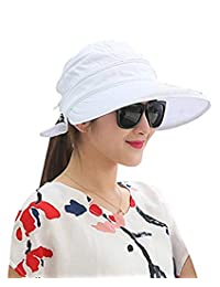Women 2 in 1 Zipper Visor Hats Wide Brim Sun UV Protection Sun Hats for Beach Fishing