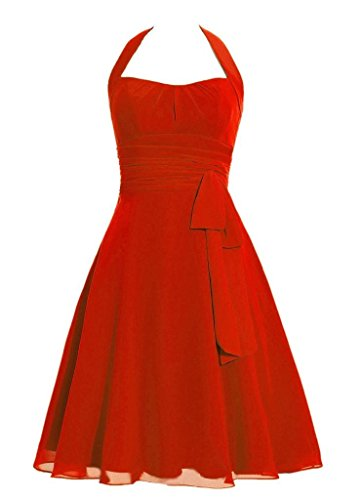 Snowskite Women's Halter Knee Length Chiffon Homecoming Prom Bridesmaid Dress Red 24 (Cinderalla Dress)