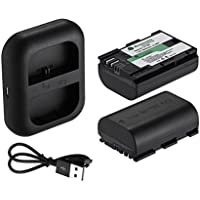 Powerextra Dual USB Charger With 2 Pack Replacement Canon LP-E6 Batteries for Canon LP-E6, LP-E6N, XC10