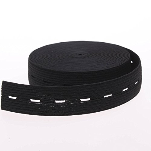 Buttonhole Fabric (Cotowin 3/4-Inch Wide Black Knit Buttonhole Elastic 5 Yards + 5 Wood Buttons (11mm))