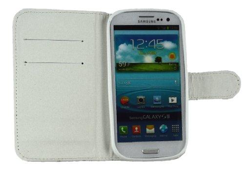Emartbuy® Sparkling Stylus Pack Para Samsung Galaxy S3 I9300 Diamante Blanco Con Ranuras Para Tarjetas De Crédito + Sparkling Plata Metallic Stylus + Protector De Pantalla Caja De La Carpeta / Cubiert