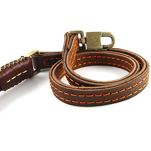 Leather Widened Dog Leash, Double-Layer with Hand-Stitched Medium-Sized Large Belt Fashion Classic, 1.2 M, Dark Brown, Strong Pull (Size : 3pcs)