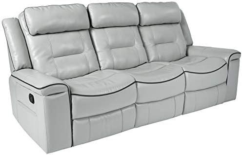 Homelegance Darwan 88 Leather Gel Double Reclining Sofa, Light Gray