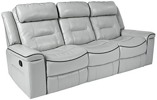"Homelegance Darwan 88"" Leather Gel Double Reclining Sofa, Light Gray"
