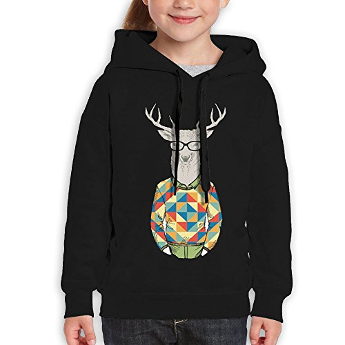 Price comparison product image FDFAF Teenager Youth 3D Funny Mr Deer Traveler Fashion Hoodie Sweatshirt S Black