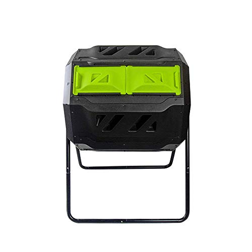 EJWOX Composting Tumbler - Dual Rotating Outdoor Garden Compost Bin, Easy Turn/Enough Height/Heavy Duty Capacity Composter(43 Gallon, Green)