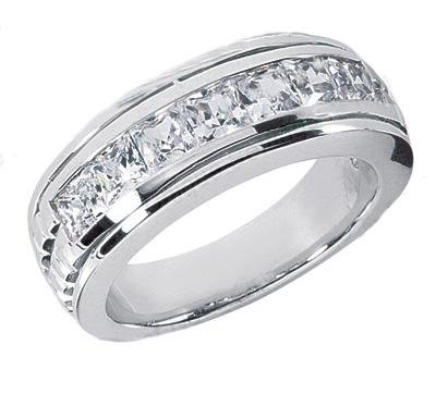 150 ct TW Mens Princess Cut Diamond Wedding Band Ring in Platinum