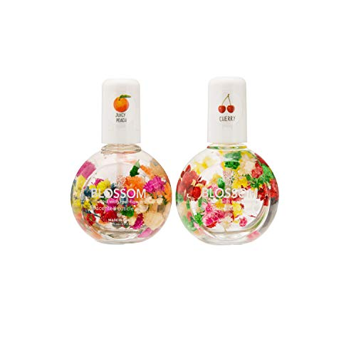 Blossom Scented Cuticle Oil Infused with Real Flowers Twin Pack — Nourishing Essential Oils for Softening, Hydrating and Repairing Nail Cuticles (Cherry & Juicy Peach — 2 x 0.92 Fl. Oz.)