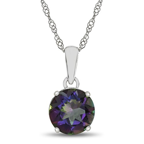 Finejewelers 10k White Gold 7mm Round Mystic Topaz Pendant Necklace ()