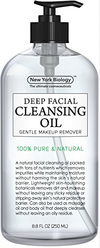 100% Natural Deep Cleansing Oil & Makeup Remover – Huge 8.8OZ – Best Ultra Lightweight Facial Cleanser for Women Gently Removes Dirt & Makeup with No Oily Residue – For All Skin Types