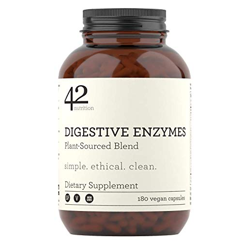 42Nutrition Digestive Enzymes Dietary Supplement - 180 Plant-Based Blend Capsules with Inulin Prebiotics for Healthy Digestion and Nutrient Absorption - Supports Gut and Daily Digestive Health