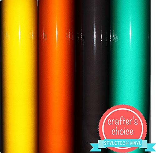 Reflective Vinyl Sheets, 12 x 12, 8 Sheets, Reflective Adhesive Vinyl - for Crafts, Stickers, Decals, and Signs by Turner Moore Vinyl (2 per Color: Green, Orange, Black, Yellow) + Bonus Gold Sample