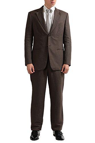 - Armani Collezioni Men's Brown 100% Linen Two Button Suit US 40R IT 50R
