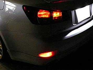 iJDMTOY Red Lens 33-SMD LED Bumper Reflector Lights Compatible With 06-13 Lexus IS250 IS350 Function as Tail /& Brake Lamps
