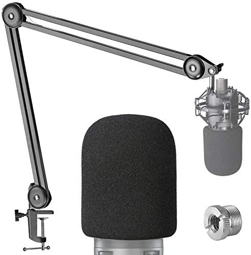 AT2020 Boom Arm Mic Stand with Pop Filter – Professional Studio Boom Arm for Audio-Technica AT2020 Mic with Microphone Foam Windscreen by YOUSHARES