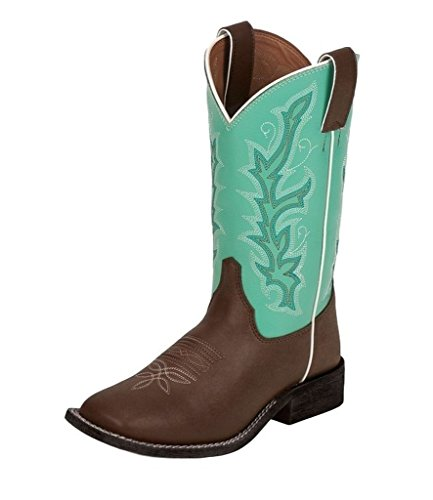 Justin Boys' Turquoise Shaft Cowboy Boot Square Toe Chocolate 5 D(M) US